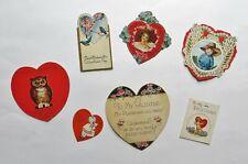 Antique Valentine's Day Cards Heart Lot Vintage 1910's - 1920's