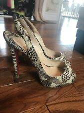 Authentic Christian Louboutin Brown/ Beige Heels Snakeskin 39