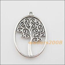 4 New Charms Tibetan Silver Oval Circle Tree Pendants DIY 27x40mm