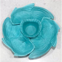 California Art Pottery Teal Turquoise 4 pc KOI Fish Serving Bowl Set, 1950's MCM