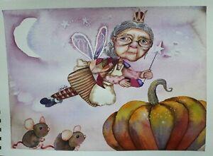 ORIGINAL ARTWORK FAIRY GODMOTHER PUMPKIN MICE MAGICAL WATERCOLOUR PAINTING...