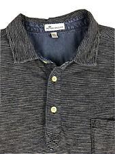 Peter Millar Indigo Striped Short Sleeve Polo Shirt Size XL