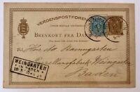 Ganzsache Kopenhagen nach Weingarten 17.3.1885