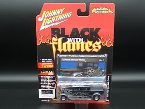 2020 JOHNNY LIGHTNING 1929 FORD CREW CAB TRUCK BLACK WITH FLAMES V B REL 3 NO 2