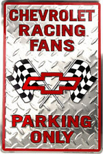 """Chevrolet Racing Fans Parking Only Red 12"""" x 18"""" Metal Garage Novelty Sign"""