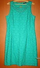 ROMAN  Women's Green Sleeveless Lace Dress Cotton Lining Size 12