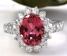 5.60 Carats Natural Tourmaline and Diamond 14K Solid White Gold Ring