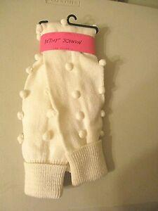 Betseyville - Betsey Johnson Pom Pom Leg Warmers !00% Cotton One Size Ivory NEW
