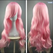 Cosplay light pink long curly sweet COS wig fashion girls nice charm hair