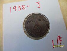German 1 Reichspfennig 1938-J Copper Third Reich Coin WW2