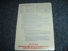 1970 PLYMOUTH SUPERBIRD JACK INSTRUCTION DECAL