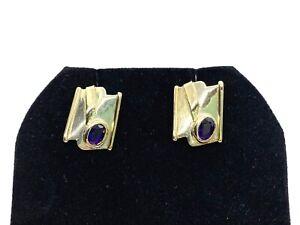 Vintage Modernist Design Sterling Silver & 14CT Gold Amethyst Stud Earrings
