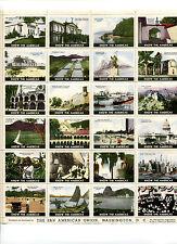 Vintage Poster Stamp Sheet PAN AMERICAN UNION WASHINGTON DC 24 diff stamps