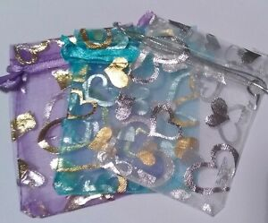 Organza Favour / Jewellery Bags, White Blue Pink Gold Silver Black, Hearts 7x9cm