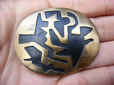 Vtg NAVAJO Belt Buckle HOPI Abstract ART Southwest Brass RARE VG++