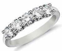 Diamond Wedding Ring band 0.75 Carat Round Cut 14k White Gold Prong set 5 stone