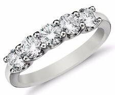 Diamond Wedding Ring band 0.75 Carat Round Cut 14k White Gold Prong set 5 stone