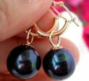 2021 New 10-11mm Tahitian Round Black Pearl Earring 14k Gold