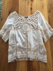 Boho Chic Bohemian Crochet Cream Bikini Cover Up Too T-shirt Small 8 10 Casamia
