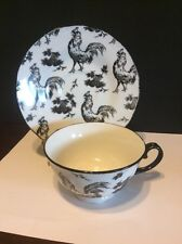 Rare. Aux Au Provence Black & White Rooster Transfer Ware Tea Cup & Saucer