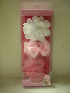 Baby Headbands With Flowers By Amar (c), Pinks & White, 3 Pack, Stretchable, New