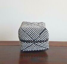 Basket, handmade/beaded, wood, black/white, decorative, tribal, xs, beach decor