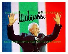 NELSON MANDELA AUTOGRAPHED 8x10 RP PHOTO SOUTH AFRICA PRESIDENT WITH FLAG