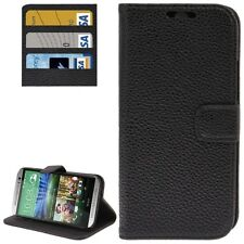 COVER CUSTODIA FLIP CASE per HTC ONE M8 PELLE STAND+INSERTI CARTE CREDITO NERO