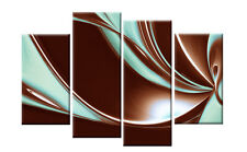 """BROWN AND DUCK EGG BLUE ABSTRACT CANVAS PICTURES  WALL ART SPLIT MULTI  40"""""""