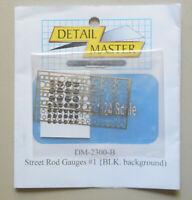 BLACK BACK STREET ROD GAUGES 1:24 1:25 DETAIL MASTER CAR MODEL ACCESSORY 2300 B