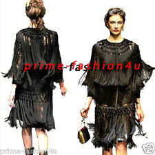 Dolce & Gabbana Black French Lace Macrame Fringe Details Long sleeves Dress Coat