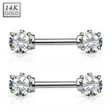 Cz Gems 14 Gauge 12 mm Pair Nipple Bars of 14kt White Gold Double Prong