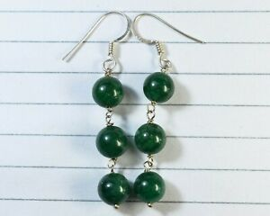 E-0769 Aventurine Natural Gemstone Round 22Ct Solid 925 Sterling Silver Earrings