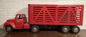 Vintage Tonka Semi Truck Livestock Tractor Trailer Pressed Steel