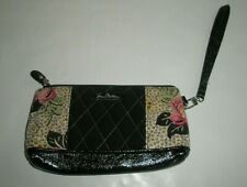 VERA BRADLEY Black Quilted Wallet Purse Wristlet with Pink Floral Accent