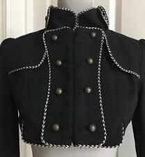 Arrogant Cat Military Cropped Jacket Black W Silver Cord Trim UK8-10