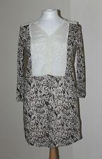 Next Brown Cream Multicoloured Floral Sequin Kaftan Mini Dress Long Top Size 10