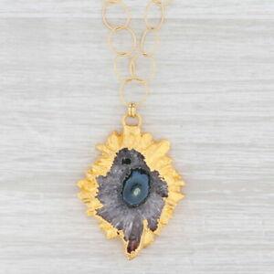 "New Nina Nguyen Geode Amethyst Pendant Necklace Sterling Gold Vermeil 19.5"""