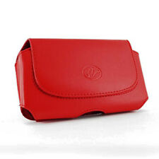 Red Horizontal Leather Cover Holster Case Pouch For Alcatel Dawn Ideal Streak