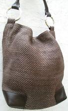-Authentique sac à main SEQUOIA en raphia tressé et cuir vintage bag