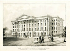Beautiful Large Lithograph of The Queen's Hotel - Cheltenham