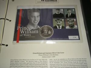 2003 HRH PRINCE WILLIAM 21st BIRTHDAY SILVER PROOF COIN COVER + 27 COVERS ALBUM