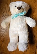 Build a Bear - white teddy blue bow good used condition