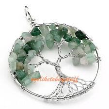 1x Natural Aventurine Gems Tree Of Life Chip Beads Healing Chakra Reiki Pendant