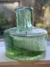 Antique Vintage Sheared Lip Ink Bottle Crude Primitive Green Glass