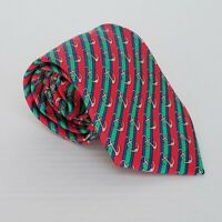 "Men's HERMES Silk Tie Necktie 7027 TA  -Red Blue Green Anchors  56"" X 3.5"""