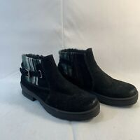Earth Origins Womens Black Leather Side Zip Suede Tate Ankle Boots Size 8 W