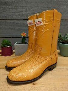 Los Altos Hornback Caiman Mantequilla ButterCup size 6.5 E Men's Cowboy Boots
