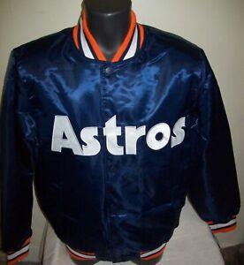 HOUSTON ASTROS MLB STARTER Snap Down Jacket M L XL 2X BLUE