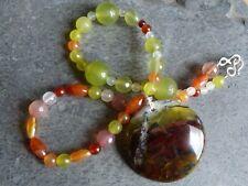 Collar/colgante 925, Ópalo verde de África, serpentinas, cornalinas